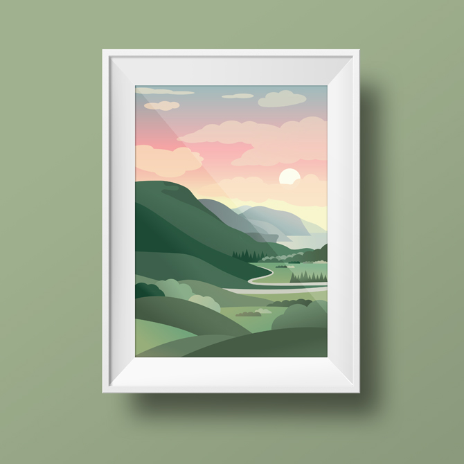 Scottish Landscape Framed Illustration